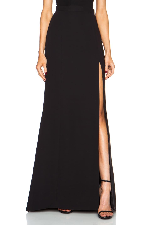 Image 1 of J. Mendel Long High Slit Silk Skirt in Black