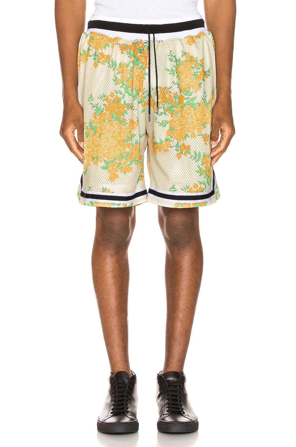 Image 1 of JOHN ELLIOTT Basketball Shorts in Ivory Bougainvillea