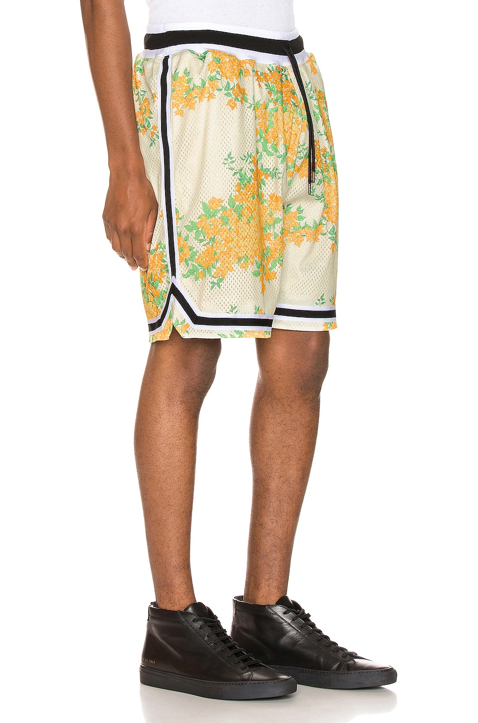 Image 2 of JOHN ELLIOTT Basketball Shorts in Ivory Bougainvillea
