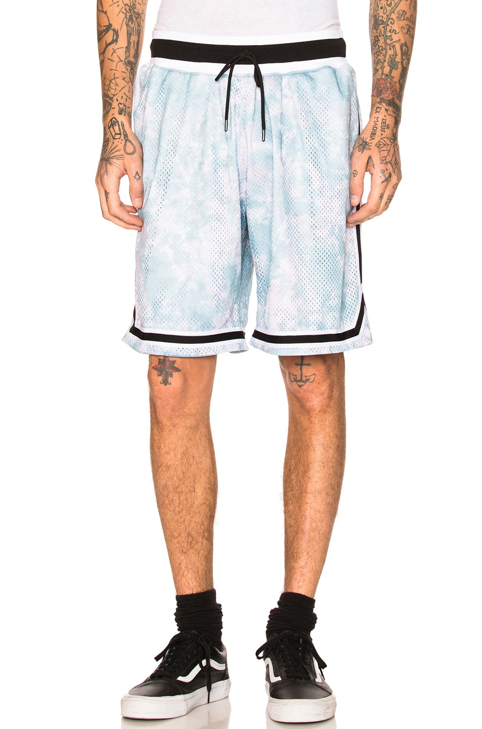 Image 1 of JOHN ELLIOTT Tie Dye Basketball Shorts in Blue & Purple