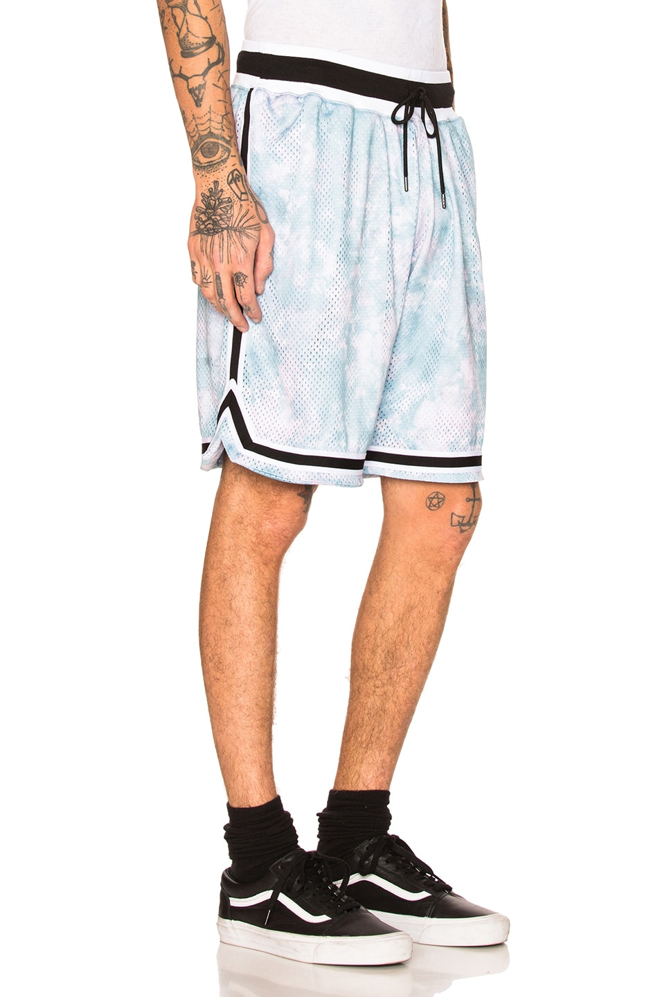 Image 2 of JOHN ELLIOTT Tie Dye Basketball Shorts in Blue & Purple