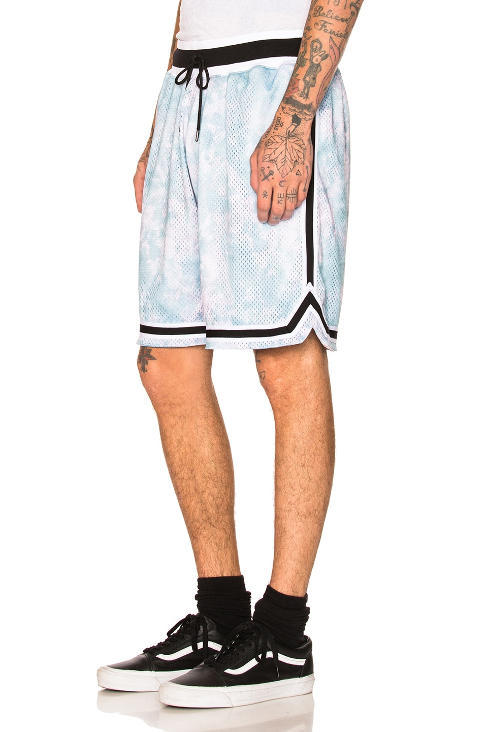 Image 3 of JOHN ELLIOTT Tie Dye Basketball Shorts in Blue & Purple