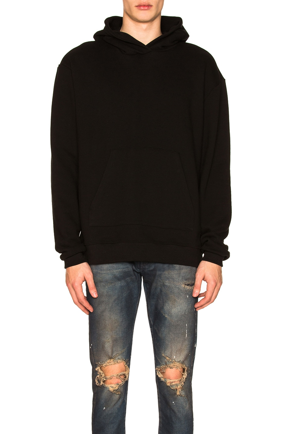 Image 1 of JOHN ELLIOTT Oversized Cropped Hoodie in Black
