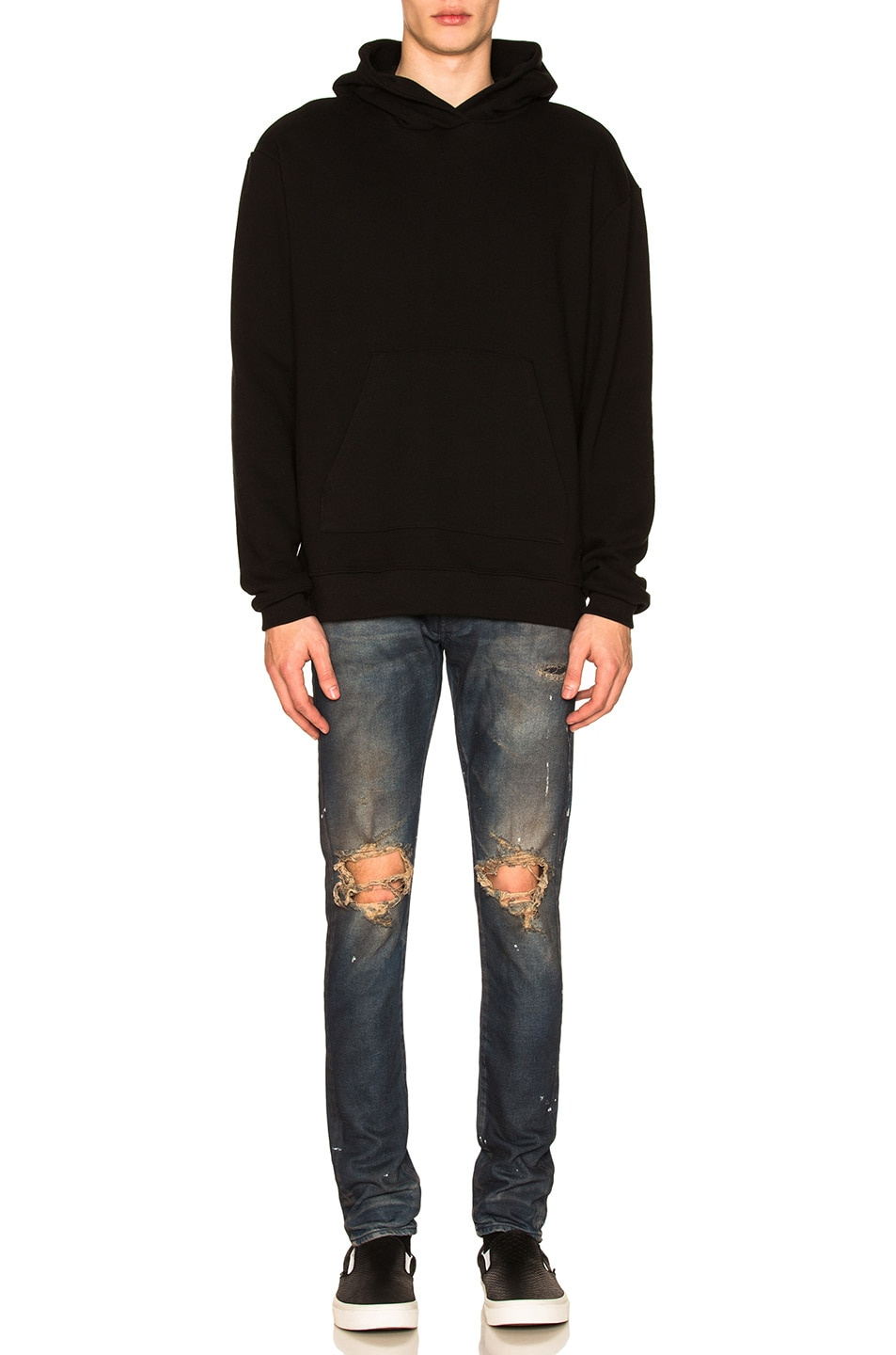 Image 4 of JOHN ELLIOTT Oversized Cropped Hoodie in Black