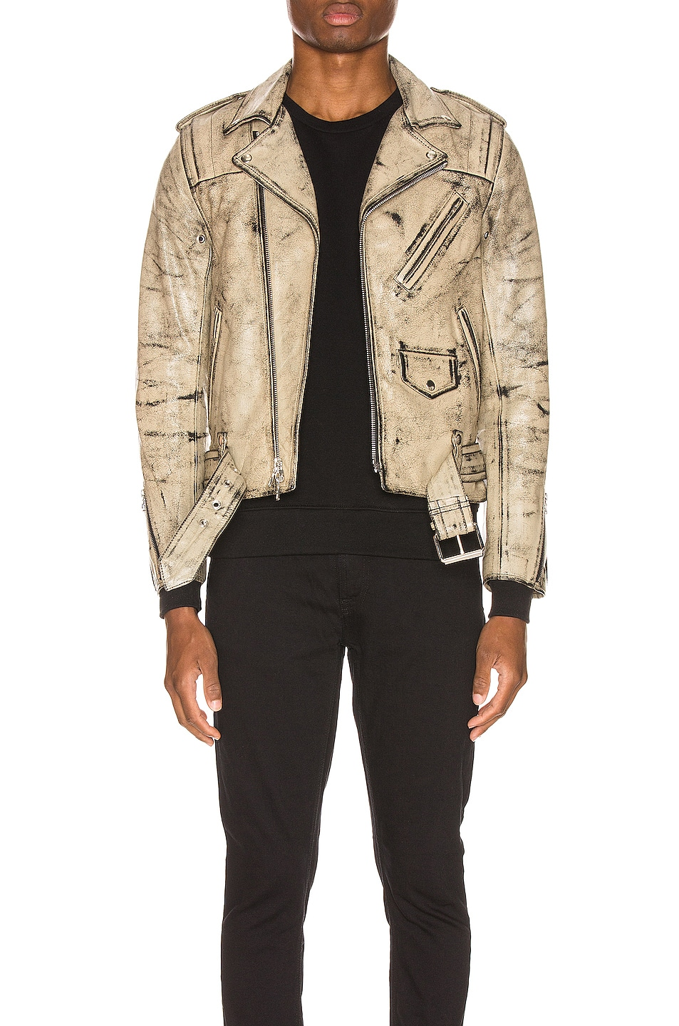 Image 1 of JOHN ELLIOTT x Blackmeans Rider's Jacket in Black & Ivory Paint