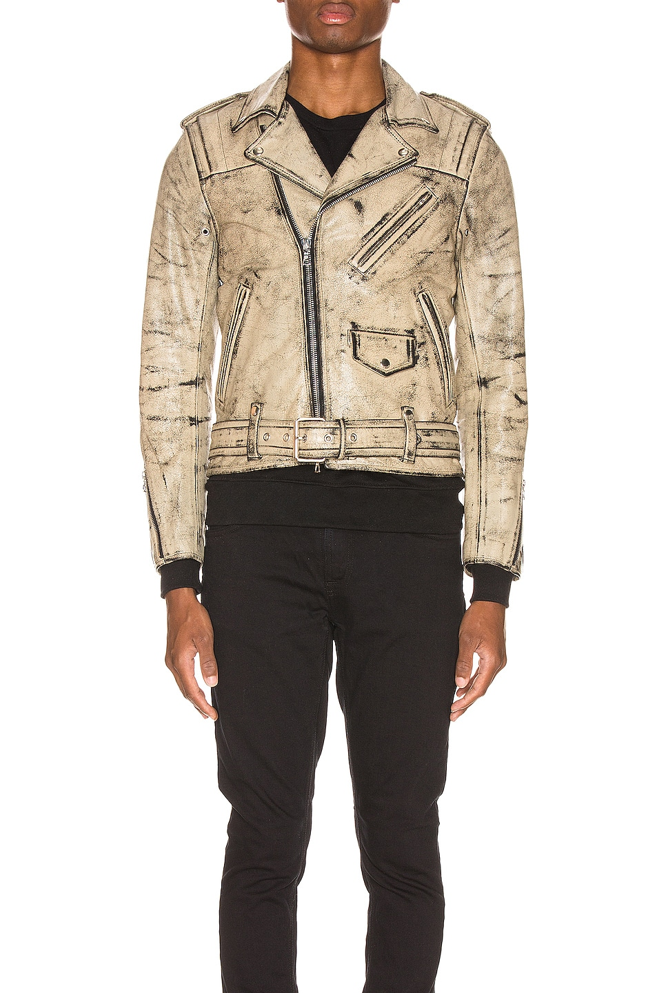 Image 2 of JOHN ELLIOTT x Blackmeans Rider's Jacket in Black & Ivory Paint