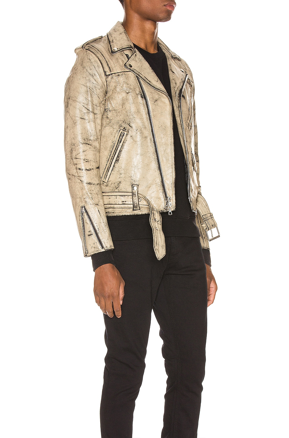 Image 3 of JOHN ELLIOTT x Blackmeans Rider's Jacket in Black & Ivory Paint