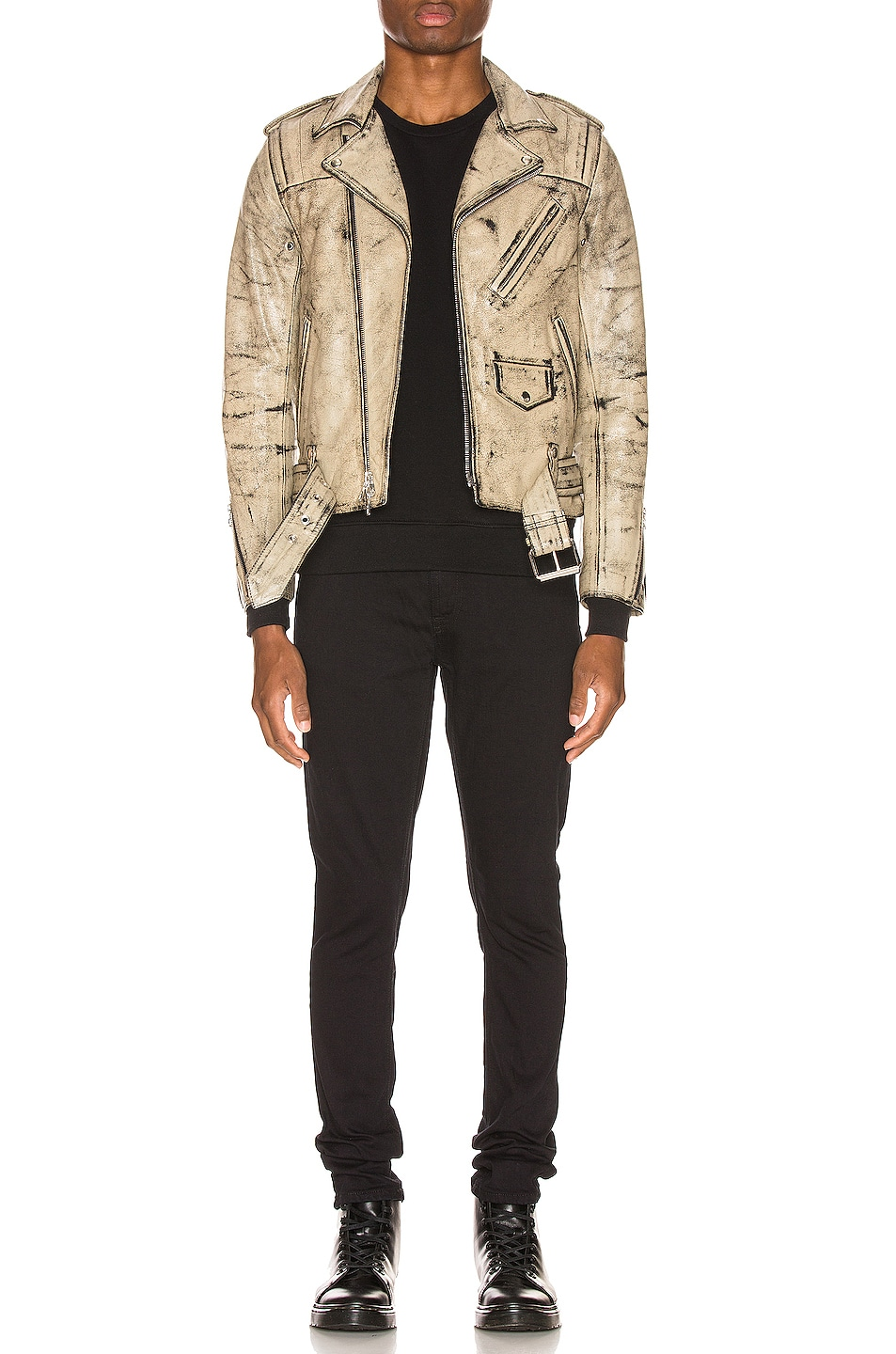 Image 6 of JOHN ELLIOTT x Blackmeans Rider's Jacket in Black & Ivory Paint