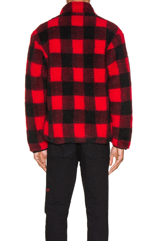 Image 4 of JOHN ELLIOTT Polar Fleece Zip Up in Red & Black Buffalo