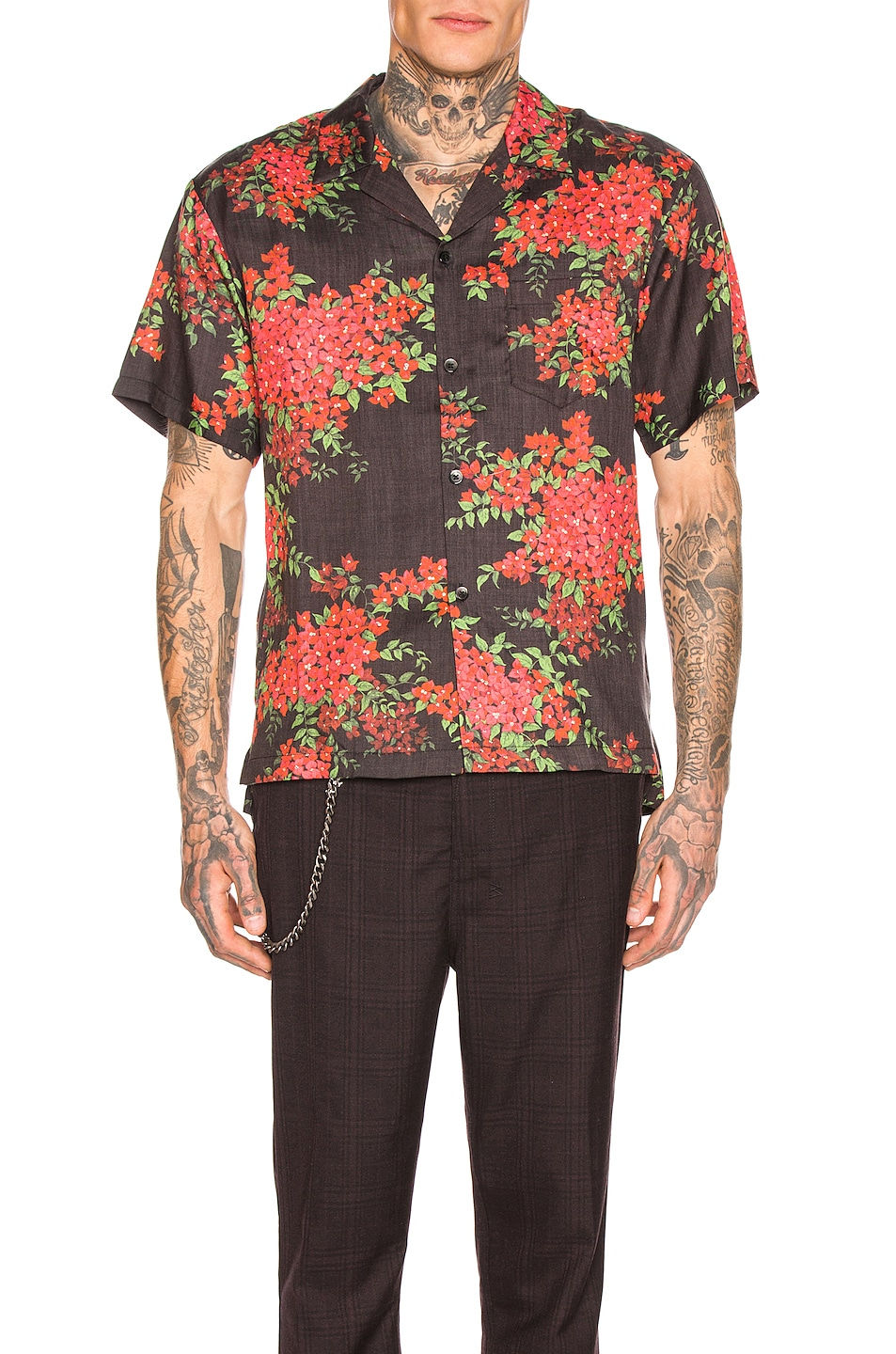 Image 1 of JOHN ELLIOTT Bowling Shirt in Black Bougainvellea