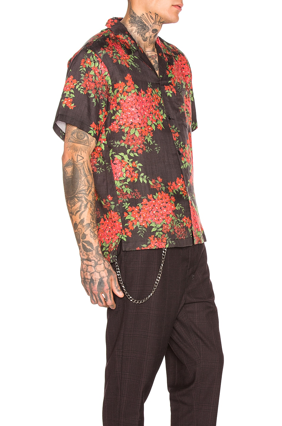 Image 2 of JOHN ELLIOTT Bowling Shirt in Black Bougainvellea