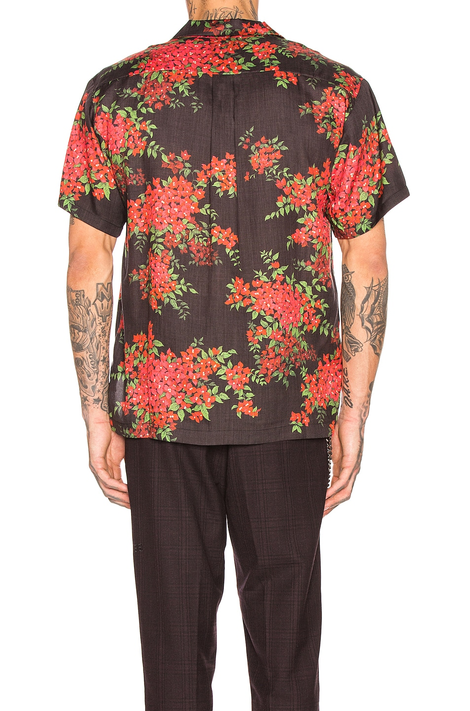 Image 3 of JOHN ELLIOTT Bowling Shirt in Black Bougainvellea