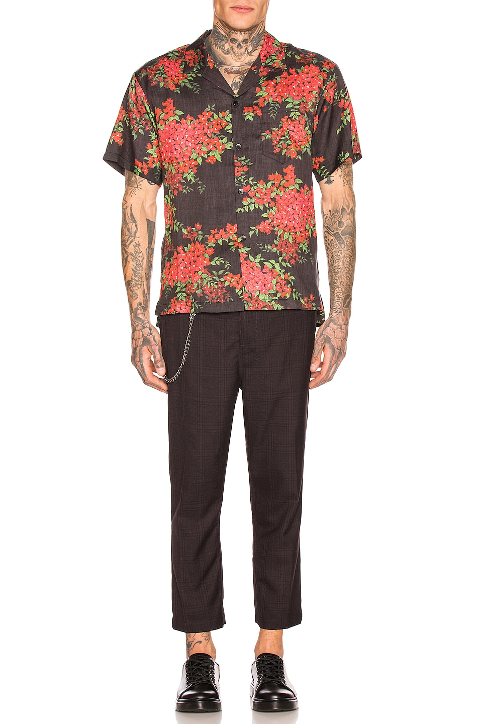 Image 4 of JOHN ELLIOTT Bowling Shirt in Black Bougainvellea