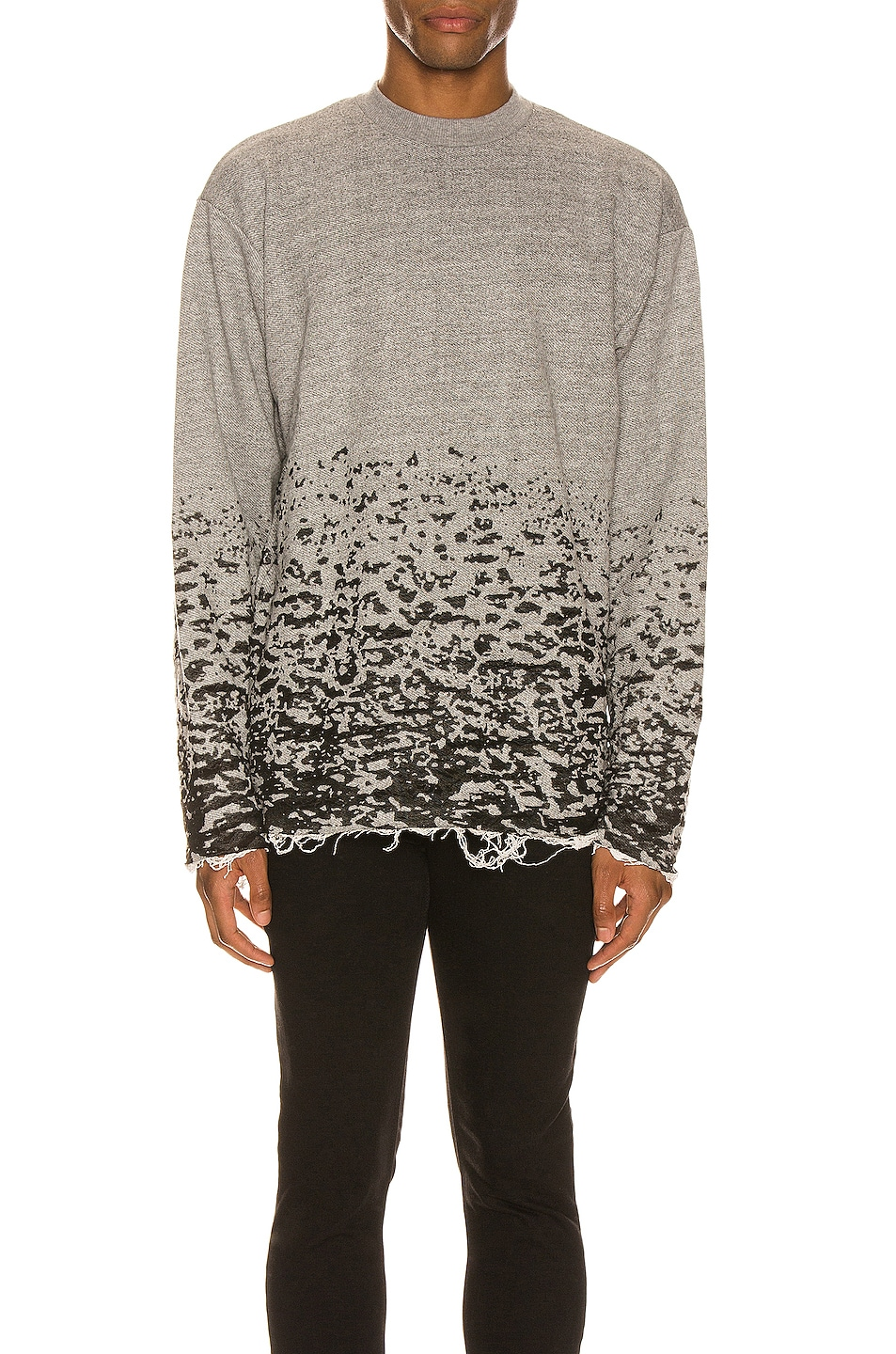 Image 1 of JOHN ELLIOTT Burn Out Mock Neck Sweatshirt in Grey
