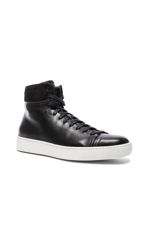 Image 1 of JOHN ELLIOTT Leather High Top Sneakers in Black