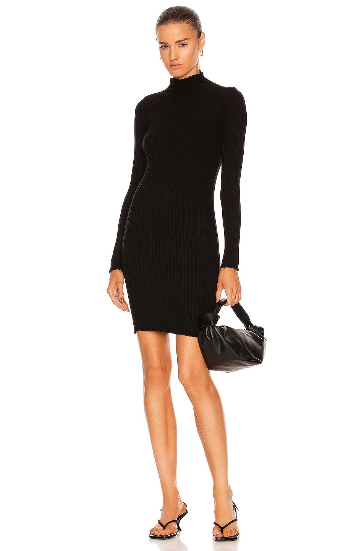 Image 1 of JOHN ELLIOTT Ginza Rib Long Sleeve Mock Mini Dress in Black