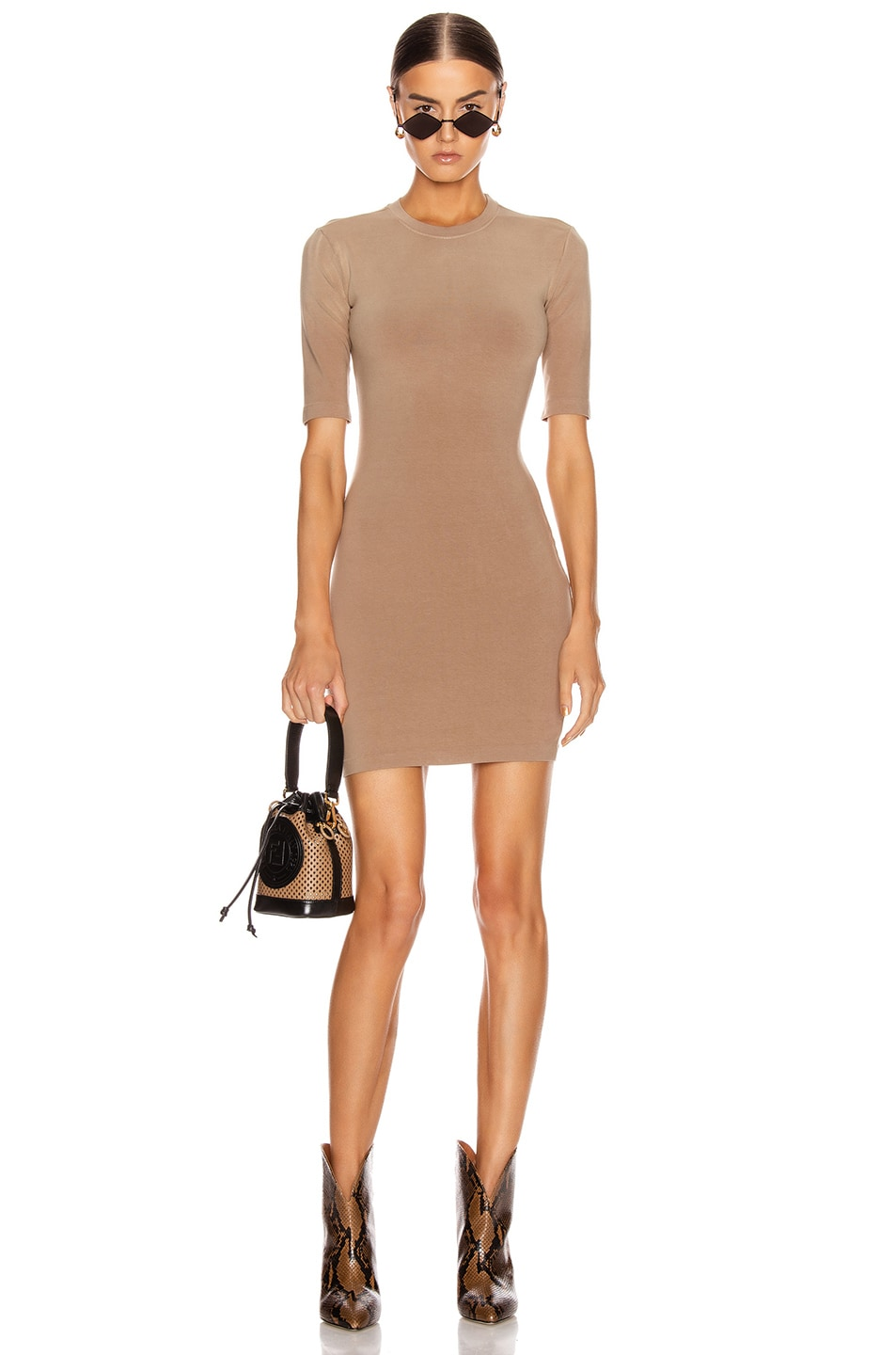 Image 1 of JOHN ELLIOTT Stretch Cotton Mockneck Dress in Suede