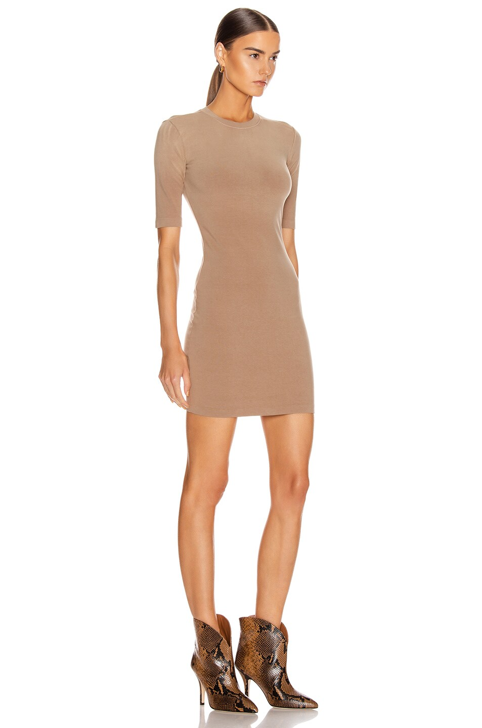 Image 2 of JOHN ELLIOTT Stretch Cotton Mockneck Dress in Suede