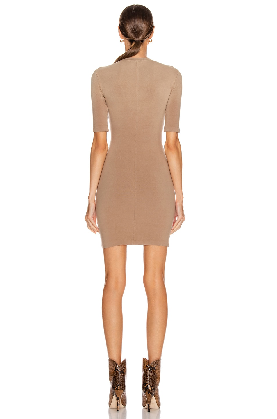 Image 3 of JOHN ELLIOTT Stretch Cotton Mockneck Dress in Suede