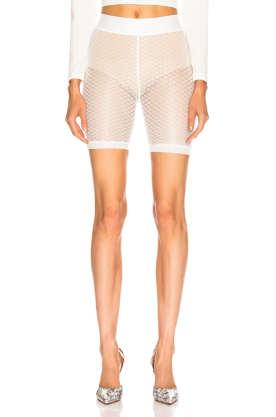 Image 1 of JOHN ELLIOTT Laine Biker Short in Ivory Lace