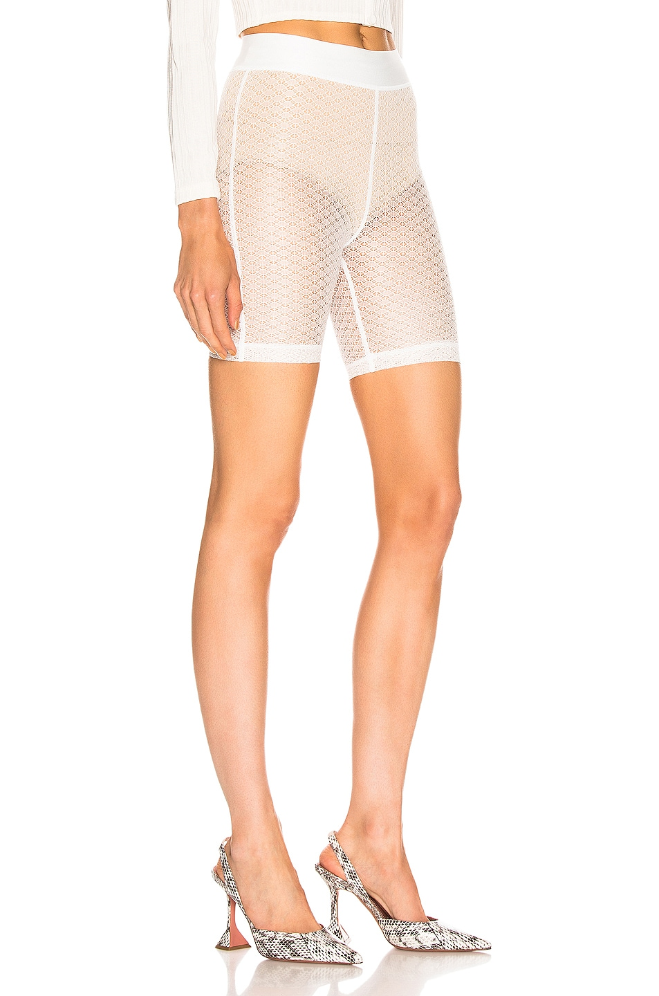Image 2 of JOHN ELLIOTT Laine Biker Short in Ivory Lace