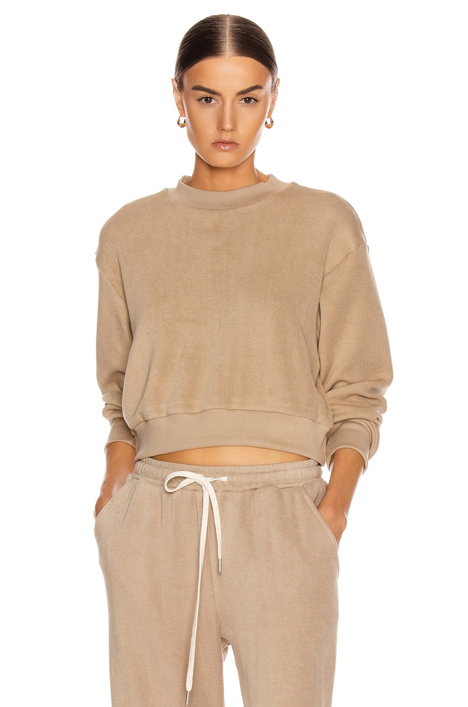 Image 1 of JOHN ELLIOTT Corduroy Cropped Sweatshirt in Linen