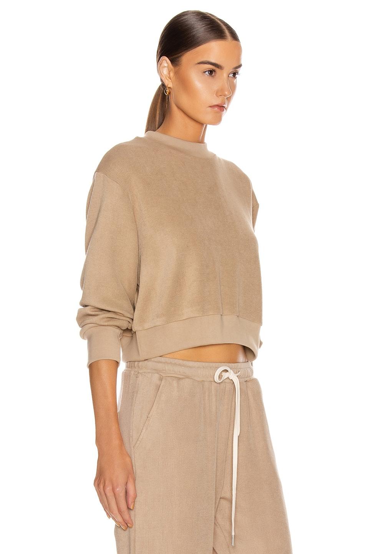 Image 2 of JOHN ELLIOTT Corduroy Cropped Sweatshirt in Linen