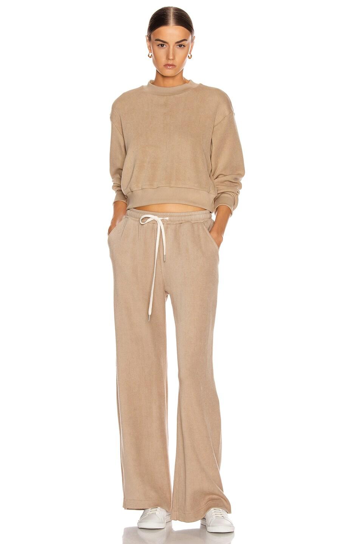Image 4 of JOHN ELLIOTT Corduroy Cropped Sweatshirt in Linen