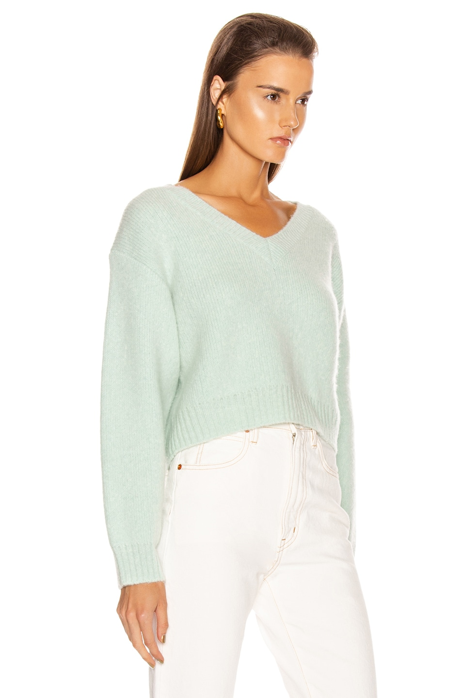 Image 2 of JOHN ELLIOTT Foggy Cropped V Neck Sweater in Celadon