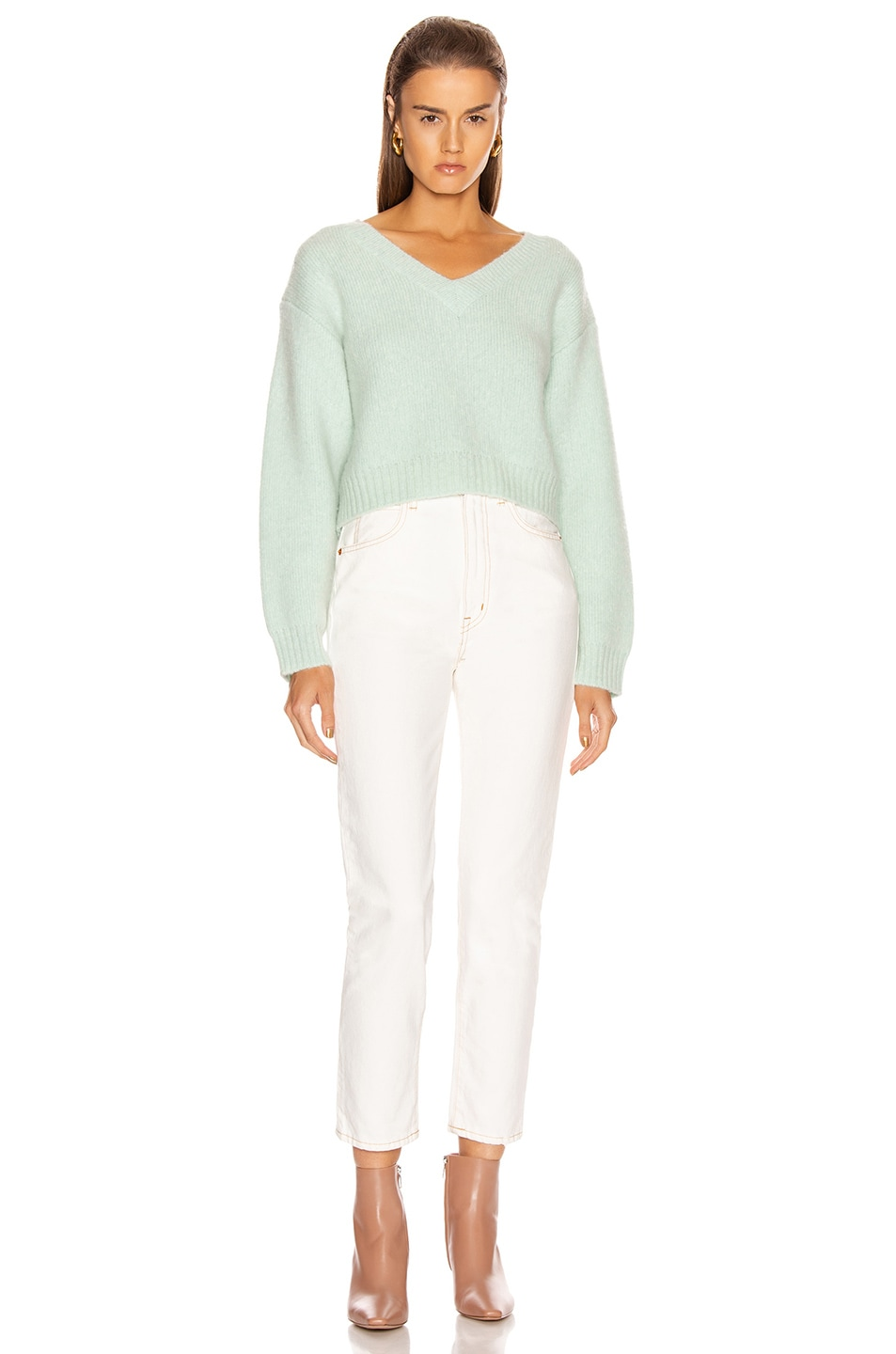 Image 4 of JOHN ELLIOTT Foggy Cropped V Neck Sweater in Celadon