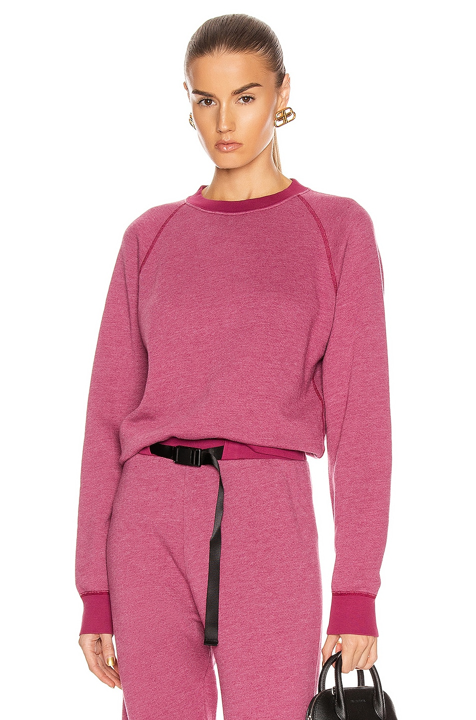 Image 1 of JOHN ELLIOTT Vintage Fleece Crew Sweatshirt in Lambrusco