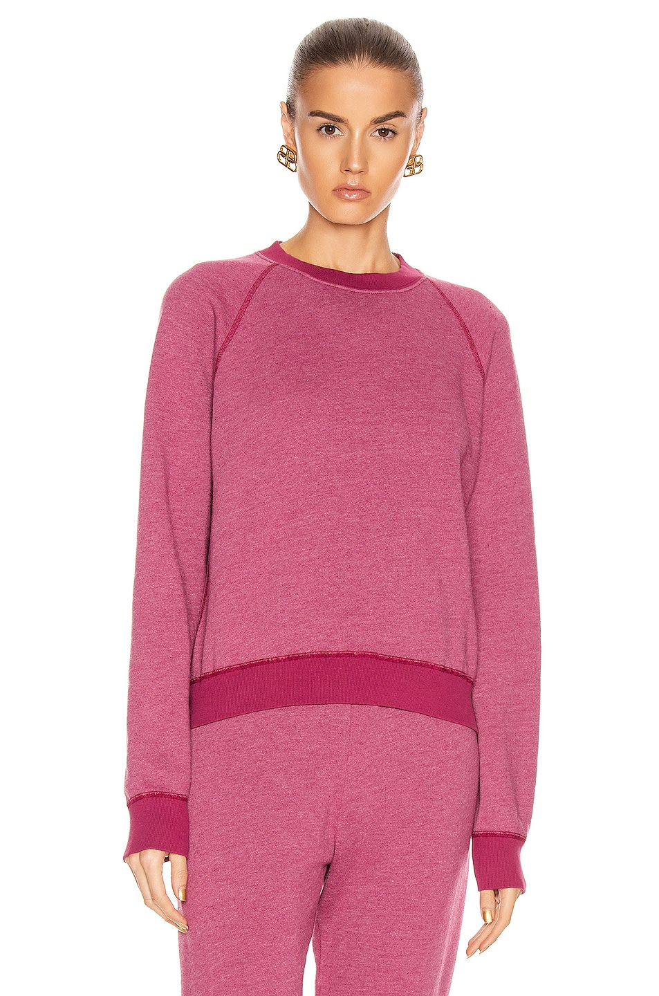 Image 2 of JOHN ELLIOTT Vintage Fleece Crew Sweatshirt in Lambrusco
