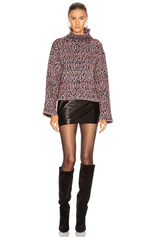 Image 4 of JOHN ELLIOTT Wool Jacquard Turtleneck Sweater in Black & Highlighter