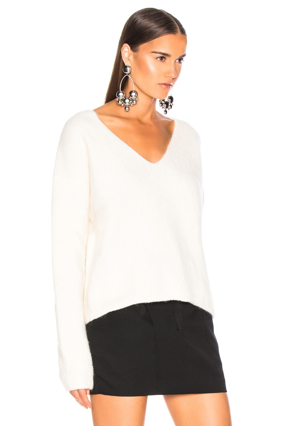 Image 2 of JOHN ELLIOTT Cobalt Alpaca Sweater in Ivory
