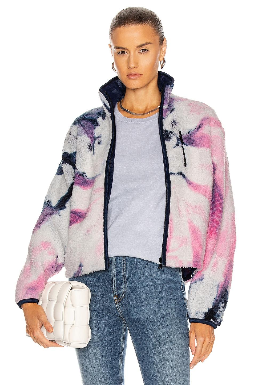 Image 1 of JOHN ELLIOTT Tie Dye Polar Fleece Zip Up in Pink & Navy