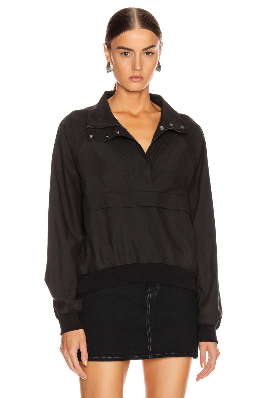 Image 2 of JOHN ELLIOTT Cotton Sail Zip Pullover in Black