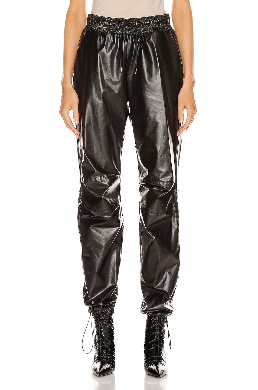 Image 1 of JOHN ELLIOTT Oversized Leather Track Pant in Black
