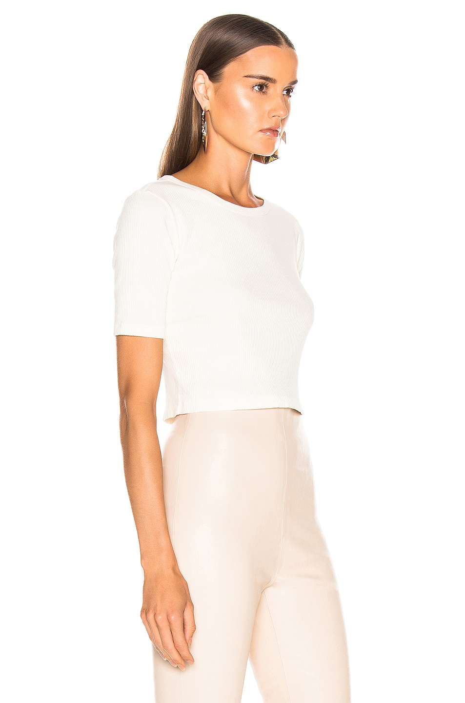Image 2 of JOHN ELLIOTT Fawn Rib Cropped Tee in Ivory