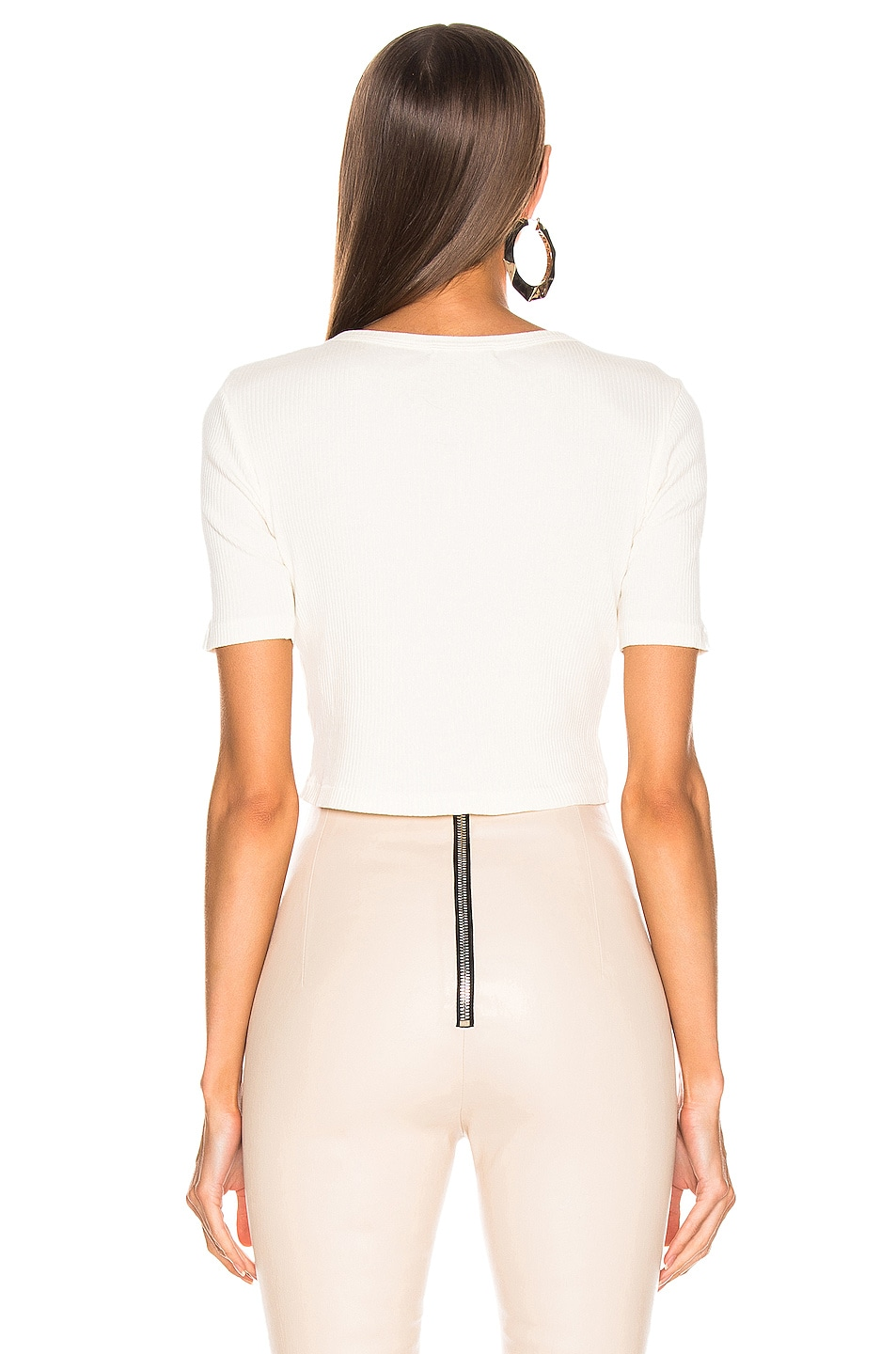 Image 3 of JOHN ELLIOTT Fawn Rib Cropped Tee in Ivory