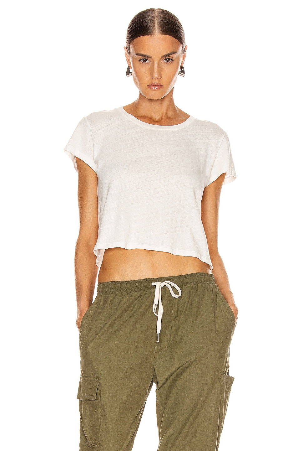 Image 1 of JOHN ELLIOTT Jersey Cropped Tee in Chalk