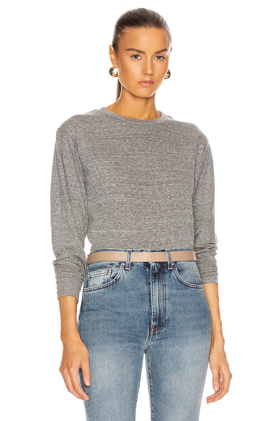 Image 1 of JOHN ELLIOTT Long Sleeve Cropped Tee in Heather Grey