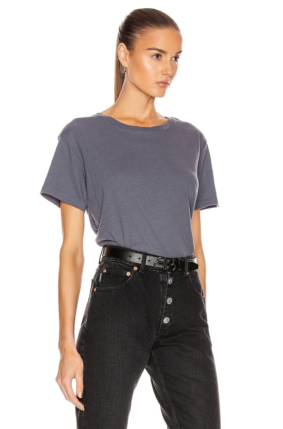 Image 2 of JOHN ELLIOTT Jersey Relaxed Tee in Dusty Navy