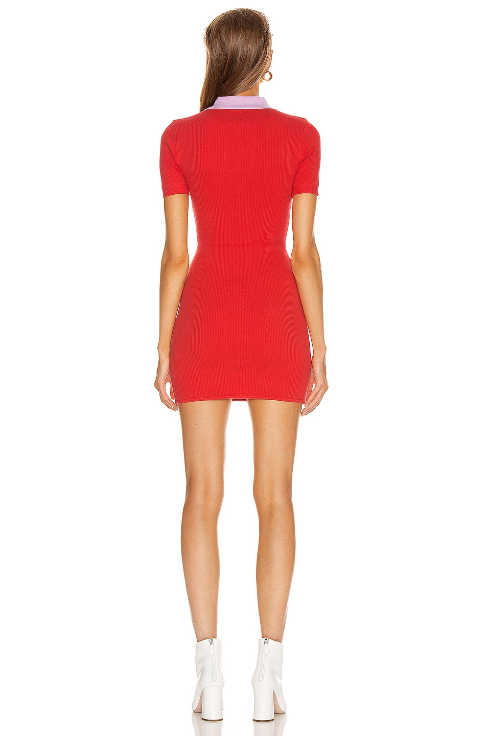 Image 3 of JoosTricot Polo Dress in Fire Poppy & Wild Rose