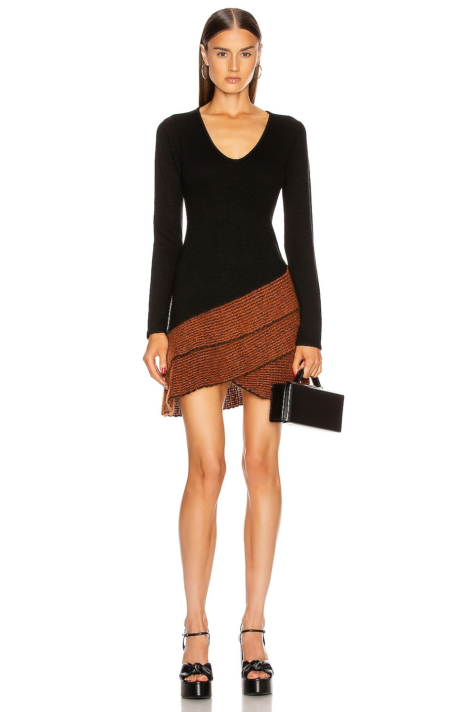 Image 1 of JoosTricot Long Sleeve Mini Dress in New Jet & Ochre