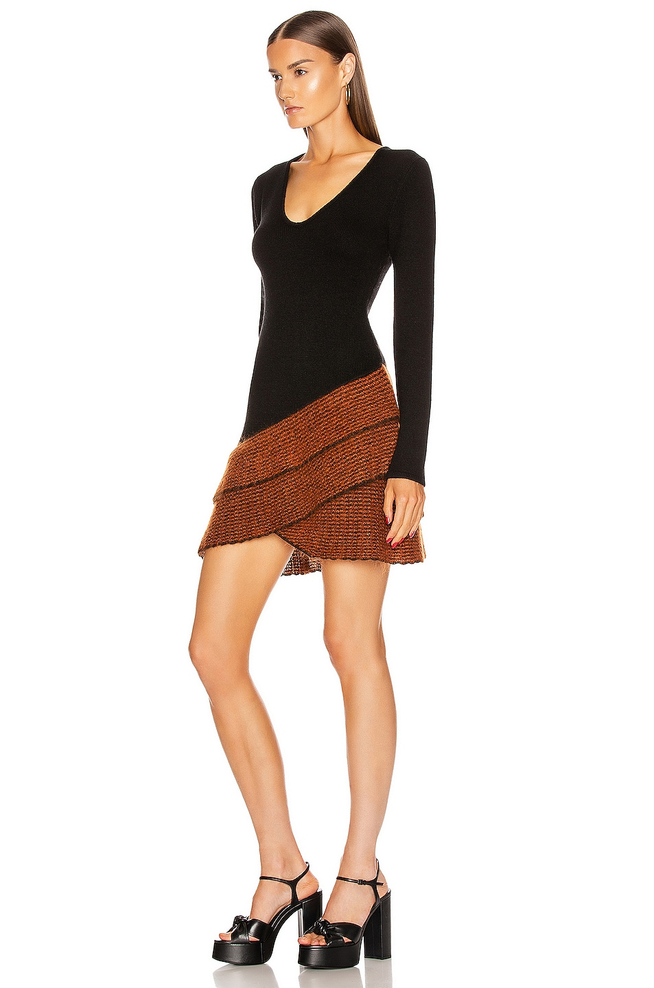 Image 3 of JoosTricot Long Sleeve Mini Dress in New Jet & Ochre