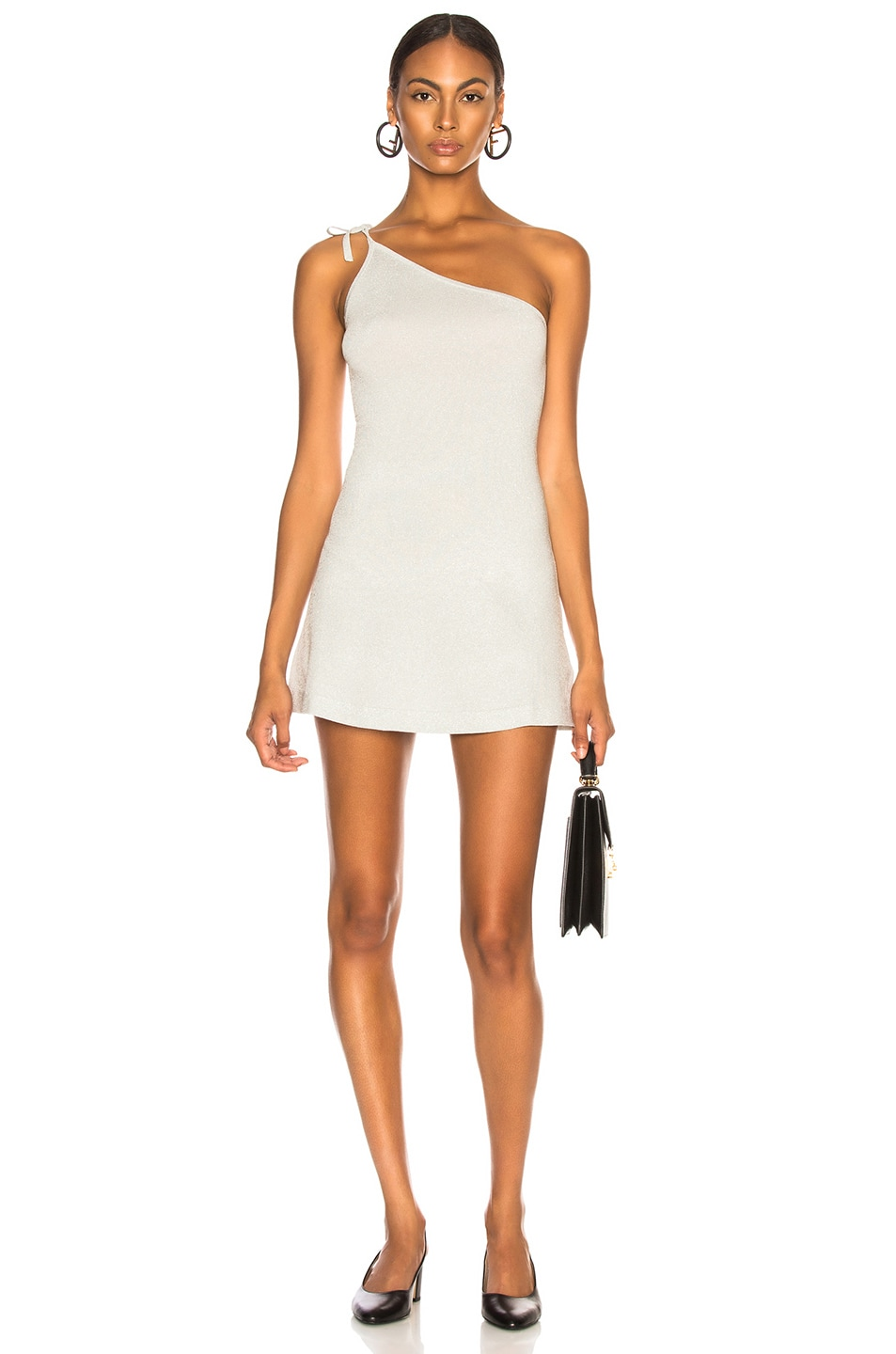 Image 1 of JoosTricot Asymmetric Dress in Silver White Lurex