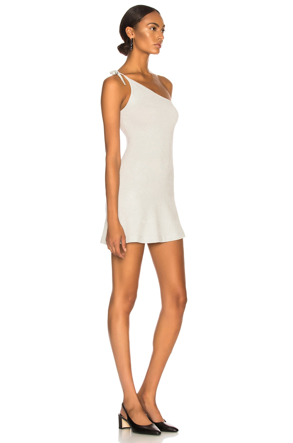 Image 2 of JoosTricot Asymmetric Dress in Silver White Lurex