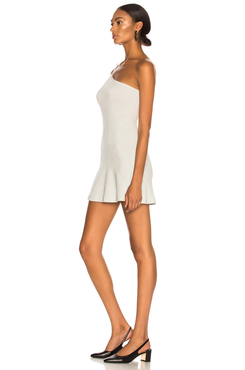 Image 3 of JoosTricot Asymmetric Dress in Silver White Lurex