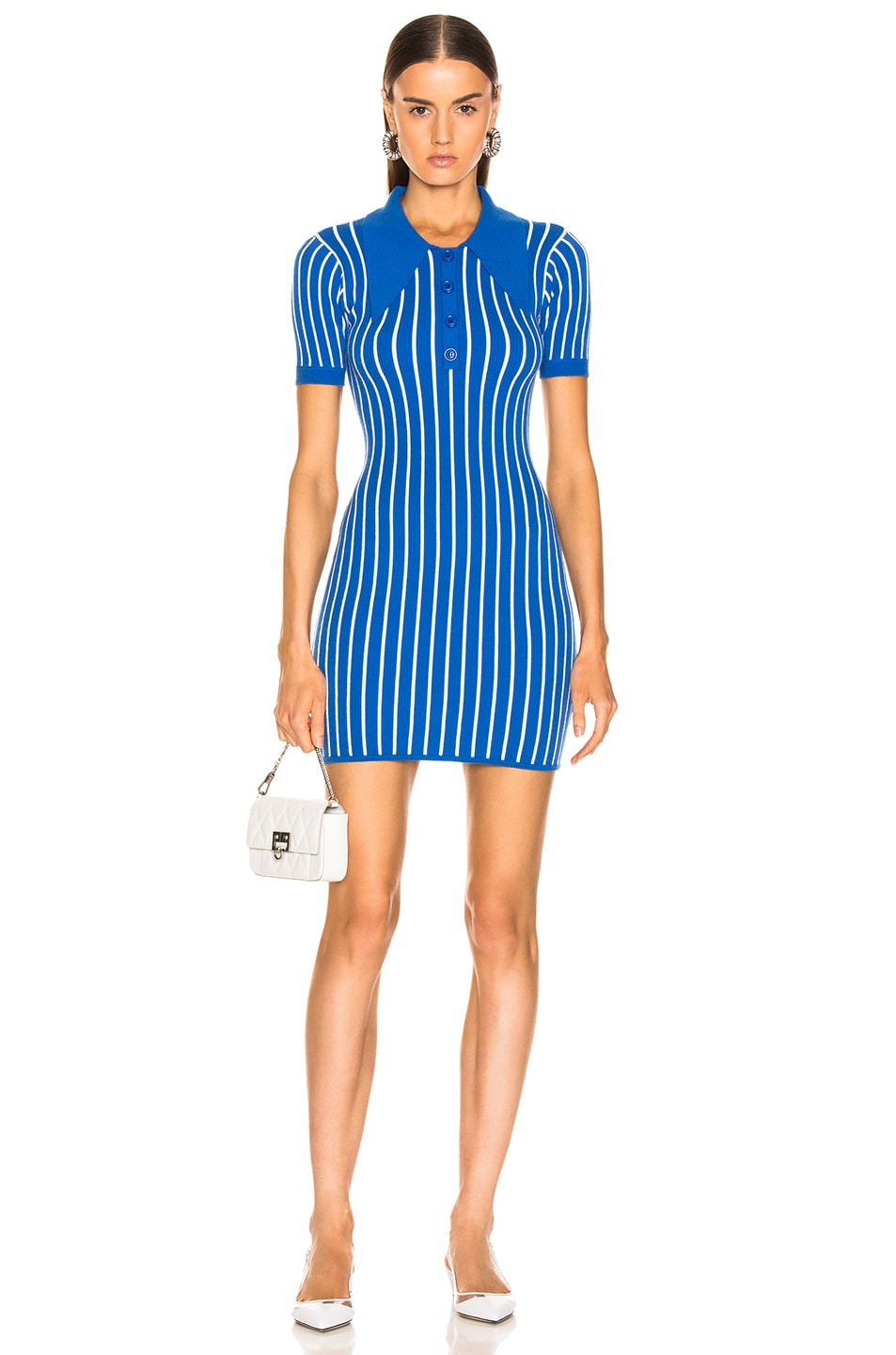 Image 1 of JoosTricot Polo Dress in Blue & White