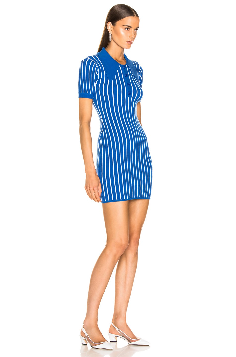 Image 2 of JoosTricot Polo Dress in Blue & White
